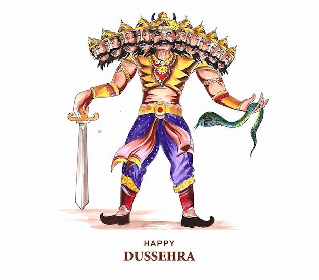 Joyeux ravan de célébration de dussehra avec un dessin à l'aquarelle