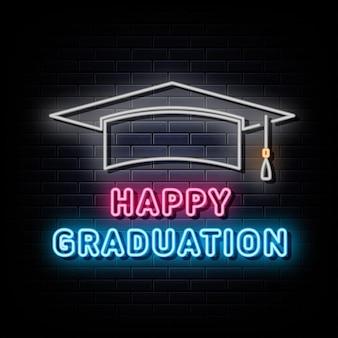 Joyeux remise des diplômes logo néon symbole de l'enseigne au néon