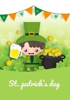 Joyeux saint patrick et carte de voeux avec quatre feuilles vertes et or et feuille d'arbre dans un style de papier découpé.