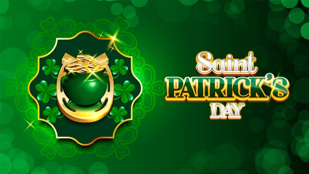 Joyeux saint patrick's day leprechaun's pot of coins and shamrock