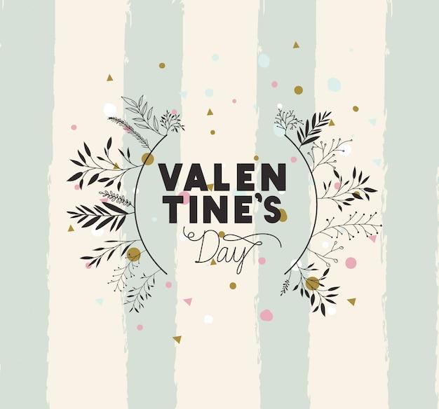 Joyeux saint valentin carte avec cadre circulaire leafs