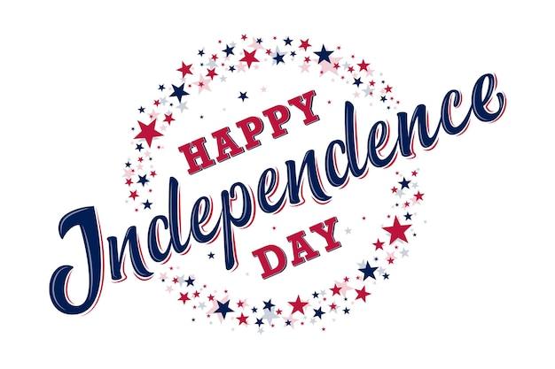 Joyeux signe de la fête de l'indépendance avec des étoiles rouges et bleues