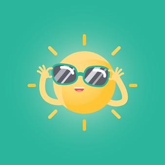 Joyeux soleil drôle caricature avec lunettes de soleil