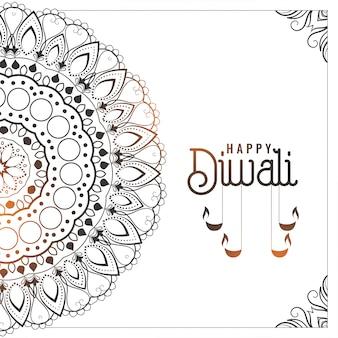 Joyeux style de décoration indienne de fond de diwali