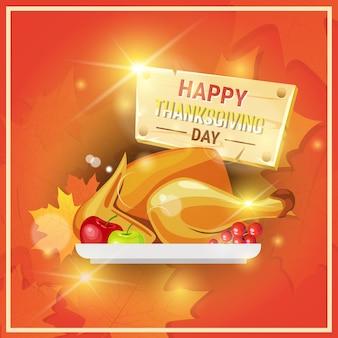 Joyeux thanksgiving day autumn carte de voeux traditionnelle avec dinde rôtie