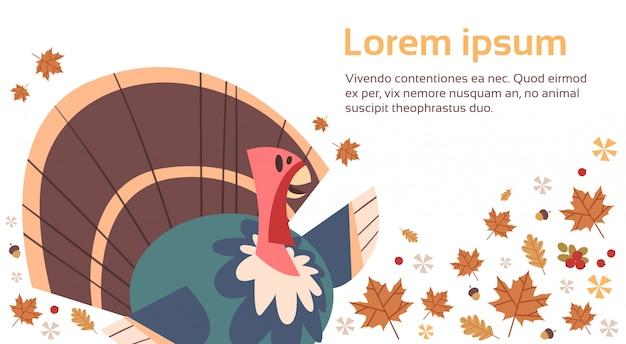 Joyeux thanksgiving day carte de voeux de vacances de récolte traditionnelle d'automne avec la turquie