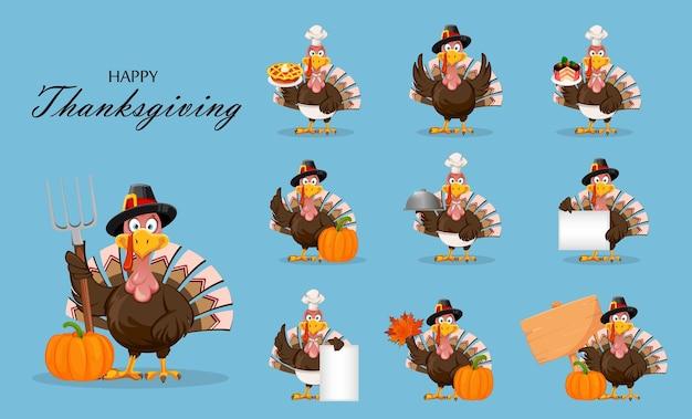 Joyeux thanksgiving day personnage de dessin animé drôle thanksgiving turquie oiseau ensemble de dix poses