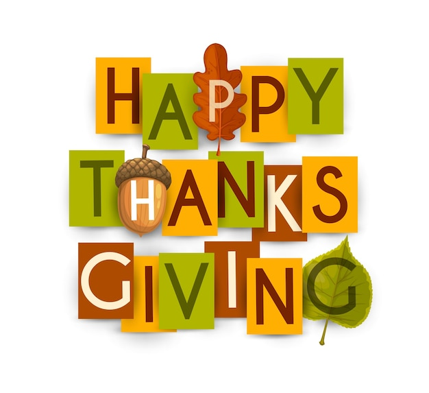 Joyeux thanksgiving avec des feuilles d'automne de chêne et de bouleau, gland. thanks giving day vacances salutations typographie lettres sur papier coloré cartes rectangulaires isolé sur fond blanc