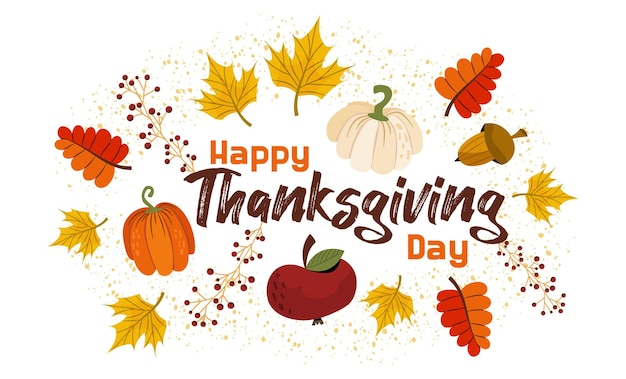 Joyeux thanksgiving avec des feuilles d'automne, des citrouilles, une pomme. décoré de feuilles d'érable, gland. illustration vectorielle pour cartes postales et invitations. fête d'automne de la récolte et de la chute des feuilles.