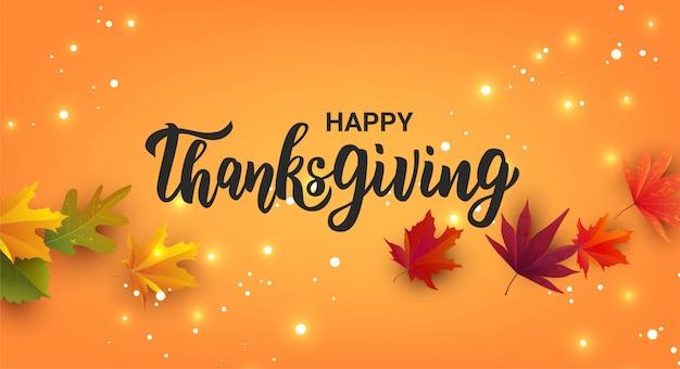 Joyeux thanksgiving main lettrage texte.
