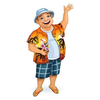 Joyeux touriste au panama et une chemise hawaïenne
