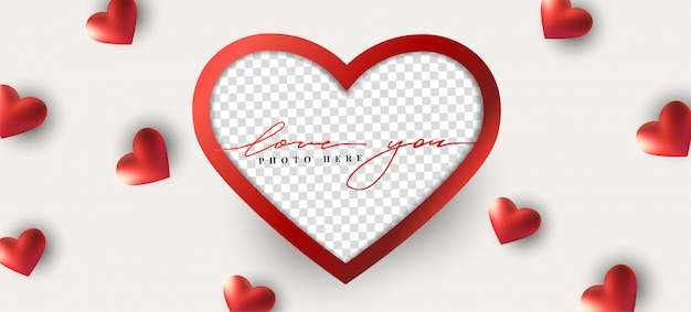 Joyeux valentin abstrait avec coeur réaliste, cadre photo.
