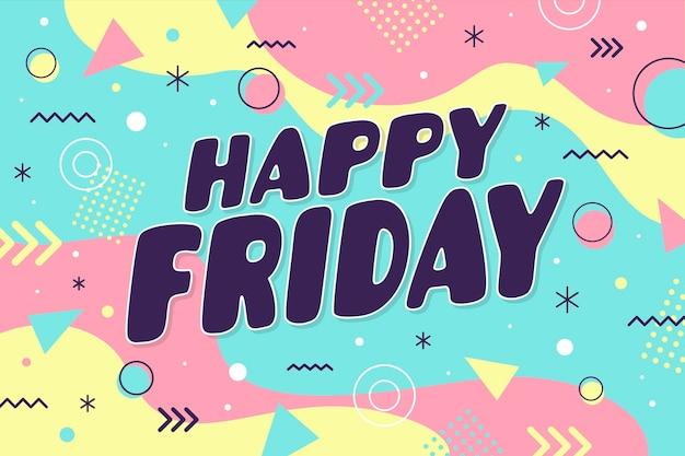 Joyeux vendredi dans le papier peint de style memphis