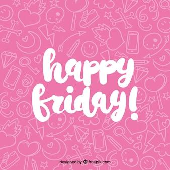 Joyeux vendredi fond rose avec gribouillis