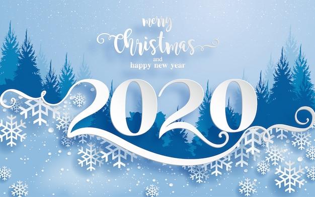 Joyeux voeux de noël et modèles de bonne année 2020 avec de beaux papiers à motifs d'hiver et de neige découpés art.