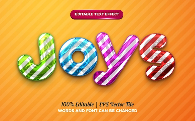 Joys kids effet de texte modifiable en 3d