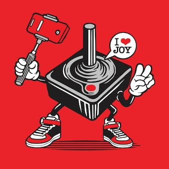Joystick controller gamer selfie caractère