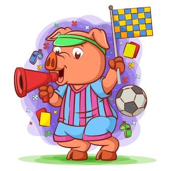 Juge de ligne cochon tenant le drapeau et le haut-parleur toa megaphone