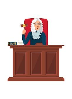 Juge, séance table bois, plat, illustration