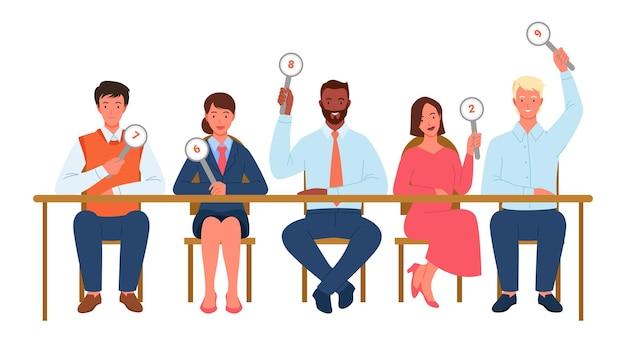 Juges du concours, comité populaire jugeant l'illustration vectorielle. dessin animé divers personnages homme femme du jury avec des tableaux de bord de carte de signe votent et montrent le score, assis à table ensemble isolés sur blanc