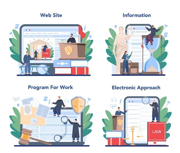 Jugez un ensemble de services ou de plates-formes en ligne. le travailleur judiciaire représente la justice et le droit. juge en robe noire traditionnelle pour l'audition d'une affaire et la détermination de la peine. programme en ligne, site web.