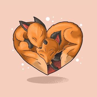 Jumeau renard amour symbole illustration grunge style