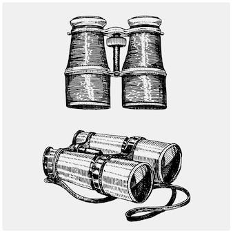 Jumelle monoculaire vintage, gravée à la main dessinée dans un style croquis ou en bois, ancien instrument scinetific rétro à explorer et à découvrir.