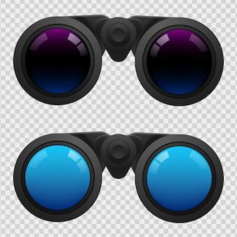 Jumelles noires sur transparent
