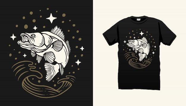 Jumping Fish Tshirt Design Vecteur Premium