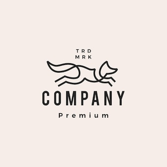 Jumping fox ligne contour monoline art hipster vintage logo vector icône illustration