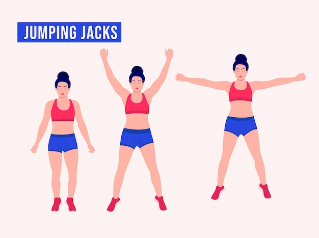 Jumping jacks exercice femme entraînement fitness aérobie et exercices