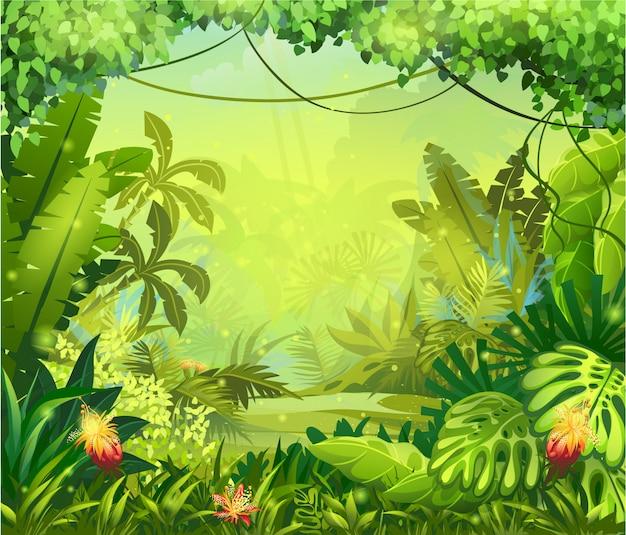 Jungle d'illustration avec des fleurs rouges