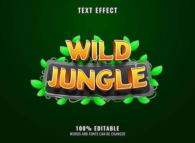 Jungle sauvage de dessin animé drôle avec des feuilles de pierre encadrer l'effet de texte du titre du logo du jeu 3d