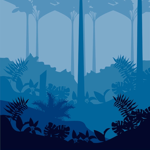 Jungle sauvage nature bleu paysage