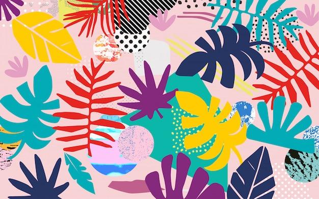 Jungle tropicale colorée fond de feuilles