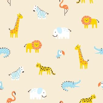 Jungle tropicale modèle sans couture animaux sauvages mignons dans un style scandinave simple dessiné à la main