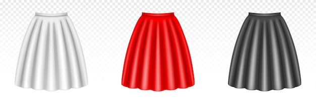 Jupes de femmes blanches, rouges et noires avec des plis isolés sur transparent