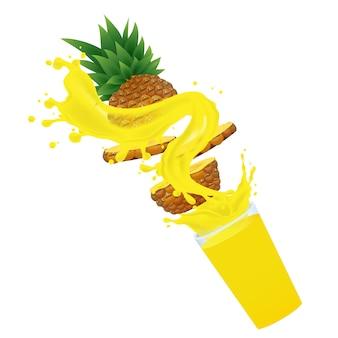 Jus d'ananas avec éclaboussures
