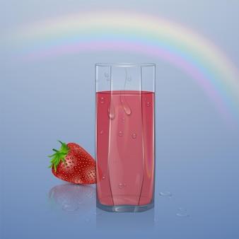 Jus de baies naturelles, annonces de baies rafraîchissantes avec du jus. verre de jus de fraise.