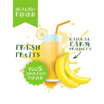 Jus de banane frais logo alimentation naturelle étiquette de produits de ferme sur peinture splash