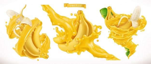 Jus de banane. fruits frais 3d réalistes