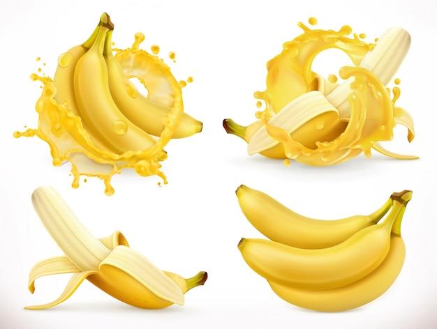 Jus de banane. fruits frais et éclaboussures