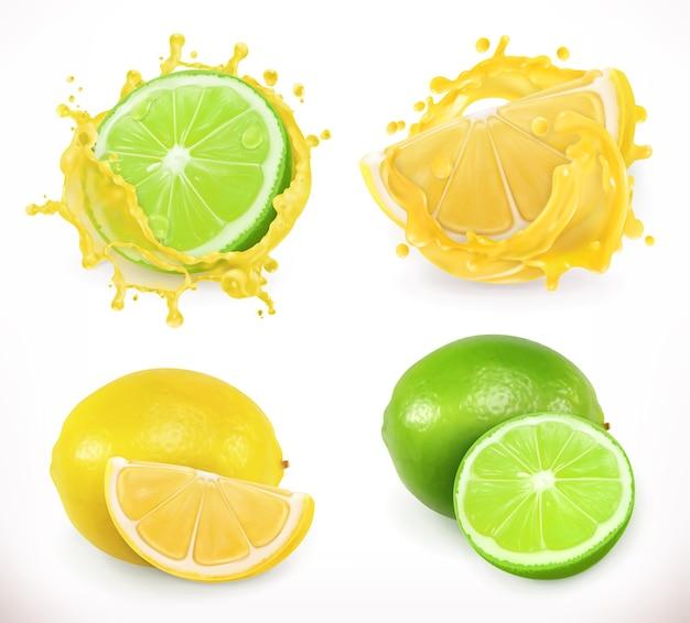 Jus de citron et citron vert. fruits frais, illustration vectorielle 3d