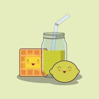 Jus de citron kawaii et gaufres