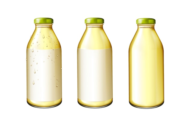 Jus dans des bouteilles en verre avec étiquette vierge dans l'illustration