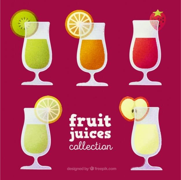 Jus dessinés à la main avec des fruits