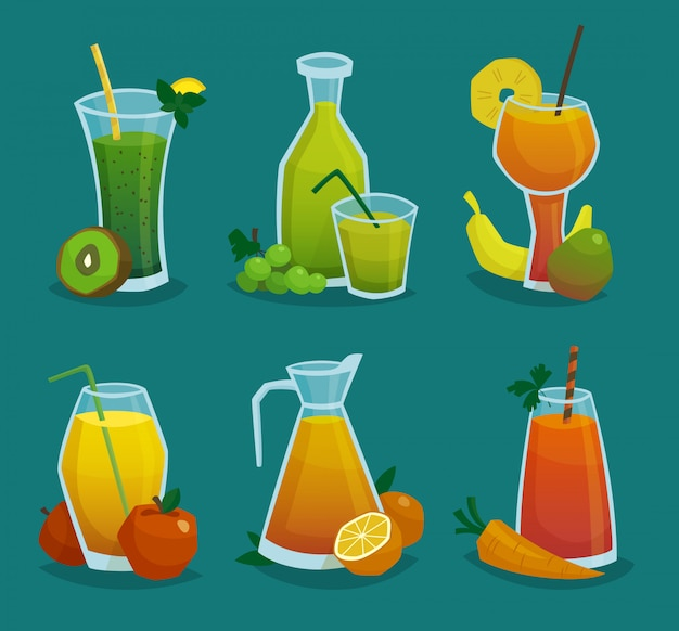 Jus frais et fruits icons set