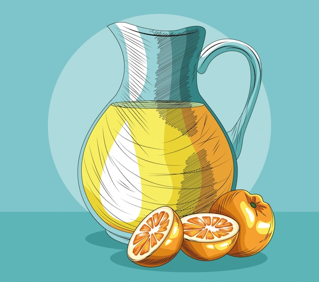 Jus de fruits frais orange pot