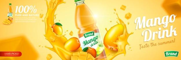 Jus de mangue dans une bouteille en plastique avec des fruits frais et un liquide tourbillonnant