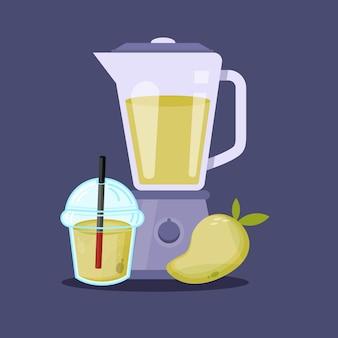 Jus de mangue avec l'icône de tasse en plastique de mélangeur